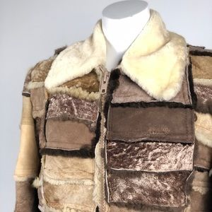 Vintage Patchwork Shearling Coat